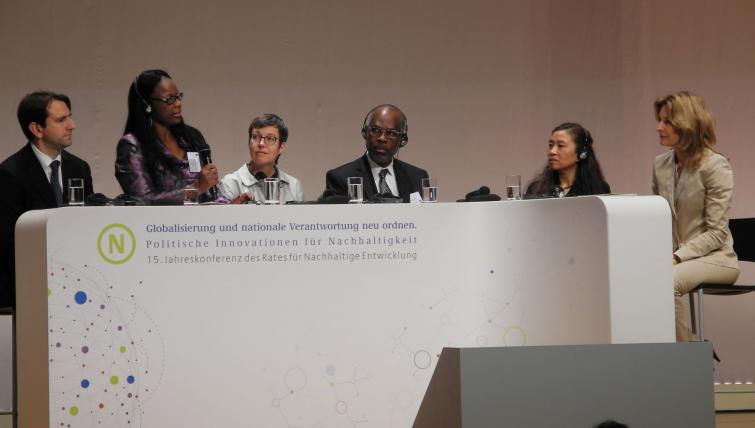 Ms Martha Naanda, Deputy Chairperson of the Sustainable Development Advisory Council, addresses a forum on national and global sustainability perspectives during the 15th Annual Conference of the German Council for Sustainable Development on 3rd June 2015 in Berlin Germany.