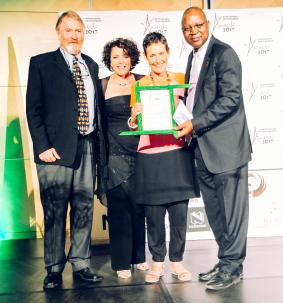 Dr. Chris Brown (l) with representative from Agribank presenting the winners of the Natural Resource Management category