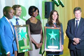 SDAC Chairperson, Dr. Malan Lindeque (r) with the CEO of the Environmental Investment Fund, Mr. Benedict Libanda and award winners at the Sustainable Development awards