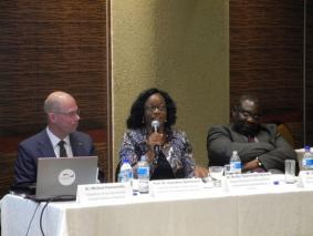 SDAC Deputy Chairperson, Ms. Martha Naanda, who spoke of the Namibian approach to sustainable development during the public lecture on July 7th 2016