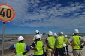 Council members inspecting the tailings facility at B2Gold Namibia.